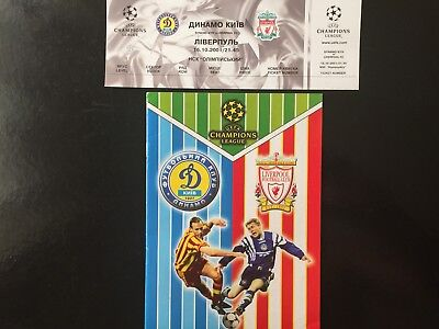 2001 Champions League. Dynamo Kyiv - Liverpool.official programme + ticket