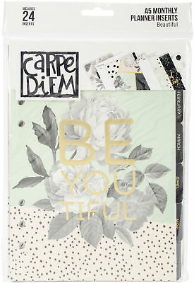 Simple Stories Carpe Diem Beautiful Double-Sided A5 Planner Inserts-Monthly, Und