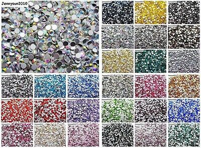 1440Pcs Top Quality Czech Crystal Round Rhinestones Flatback No Hotfix Nail Art
