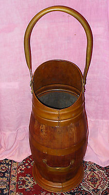 """Old Coopered Wooden Coal Scuttle With Copper And Brass Fittings 24"""" Tall Lovely"""