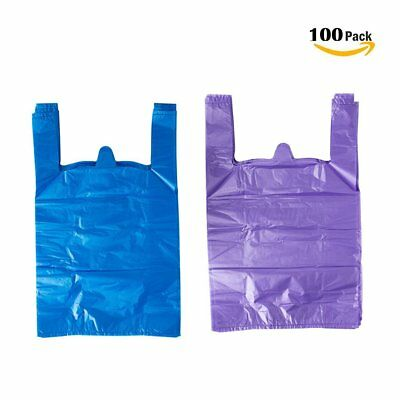 Lazyme 12 X 20 Inch Plastic Thick Purple T Shirt Bags Handle Shopping Bag... New