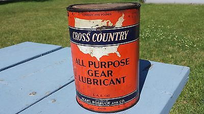 Vintage Rare Cross Country Sears Roebuck 5 LB Gear Lubricant Tin Metal Can Oil