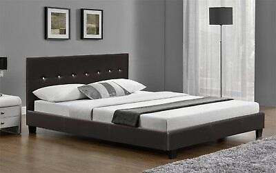 Super King Size Bed Frame Faux Leather In Black Or Brown Available With Mattress