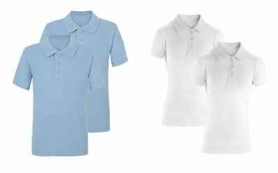 Boys Girls Polo Shirts 2 Pack School Sports Plain PE Cotton T-shirt 4 - 11 years