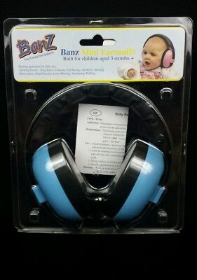 Baby Banz Newborn Hearing Protection Earmuff Blue 3 months + NEW