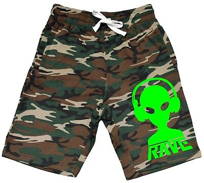 Mens Born To Rave V413 Black Fleece Jogger Sweatpant Gym Shorts