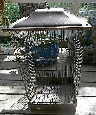 "Vintage Rusty Crusty Large Birdcage House Signed ""bosch"" To Hang Or Stand"
