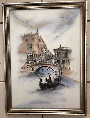 Delightful Pastel And Ink Drawing Of Venice  Scene With Canals Not Signed