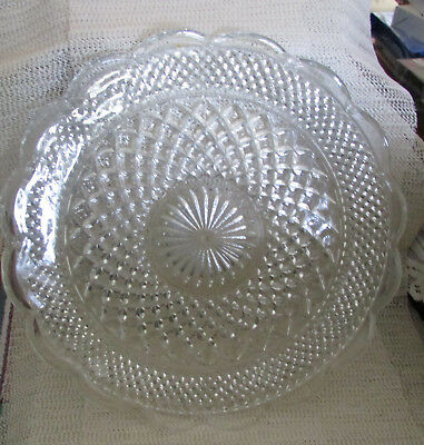 "Anchor Hocking Wexford Glass.. 14"" Cut Glass Scallop Rim Sandwich Charger Plate"