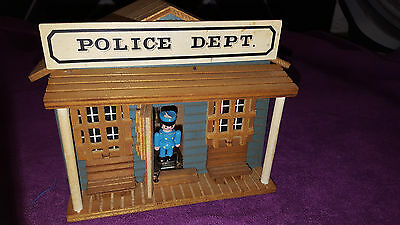 Vintage Music box Wooden Police station