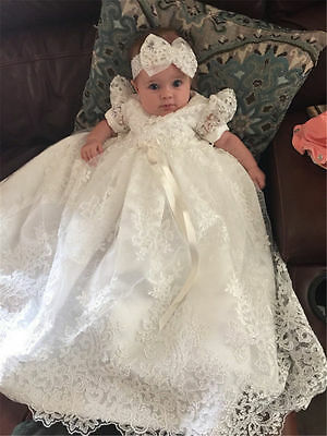 Vintage Infant Baptism Dresses Soft Lace Baby Ivory White Christening Gown 0-18M