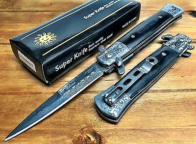 "8.75"" Italian Milano Stiletto Damascus Spring Assisted Open Pocket Knife - LWBK"