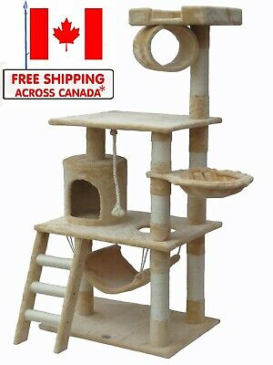 "56"" Cat Tree Condo Tower Cat Furniture Scratching Post Pet House -Beige"