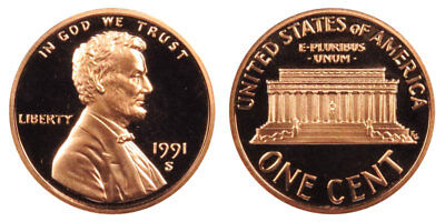 1991-S Proof Lincoln Memorial Cent Penny Deep Cameo , FREE SHIPPING!