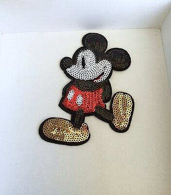 Disney Mickey Mouse Sequin Embroidered Appliqué Patch Sew Or Iron On Character