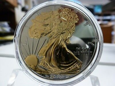 2010 Gold Plated Walking Liberty Silver 1 oz American Eagle $1 w/ Box