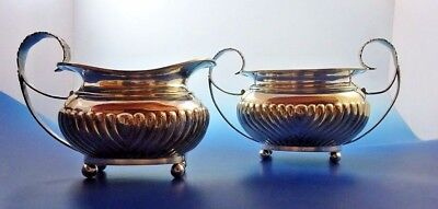 English Sterling Silver Sugar and Creamer Made in London Fancy Antique