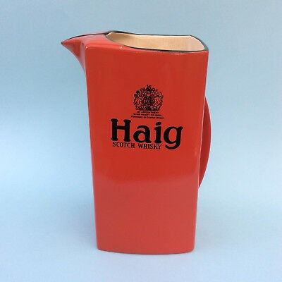 VINTAGE CARLTON WARE ART DECO HAIG SCOTCH WHISKY Red Water Jug Advertising AS IS