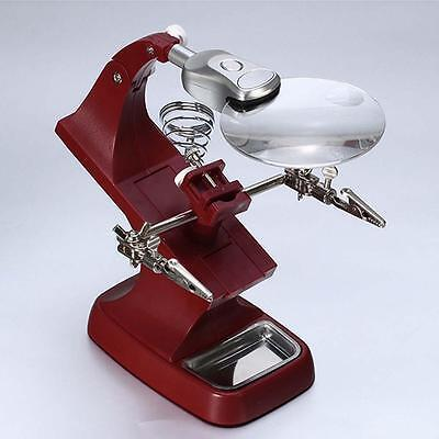 Helping Hand Soldering Stand With LED Light Clip Magnifier Magnifying Glass A-