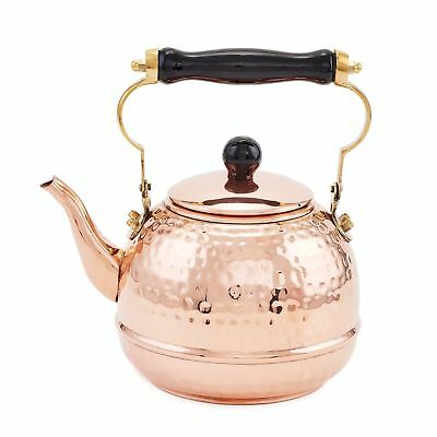 Old Dutch Hammered Copper Teakettle with Wood Handle 2 Qt. Solid Copper