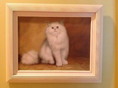 Oil painting of white Persian Cat in wood frame 21x17