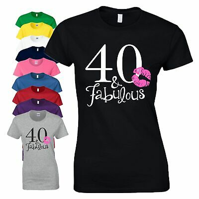 40th Birthday Gift T Shirt 40 And Fabulous Age Top Made In 1977 Year Ladies Tee