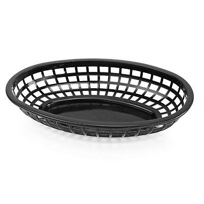 New Star Foodservice 44140 Fast Food Baskets 9.25 x 6 inch Oval Set of 12 Black