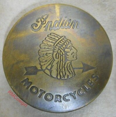 Indian Motorcycles Solid Brass with Antique Finish Old Western Badge #167AF