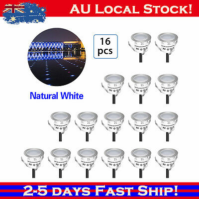 16Pcs White 12V 32mm Outdoor Yard Path LED Deck Stair Soffit Lights Landscape