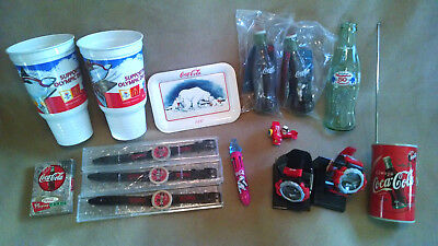 Lot of Coca Cola: Rare Arabic Can Radio, Watches, Toys, Playing Cards, Bottle