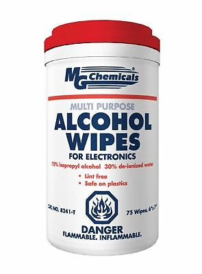 "MG Chemicals Multi Purpose Alcohol Wipe (70% IPA) 7"" Length x  6"" Width (Tub ..."