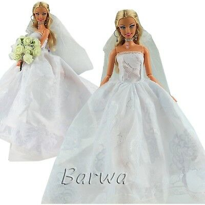 e43a75c6f7cb5a Barwa Wedding Dress with Veil White Princess Evening Party Clothes Wears  Dres.