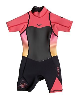 NEW ROXY™  Girls 2-7 Syncro 2/2mm Short Sleeve Springsuit Wetsuit 2016 Girls Sur