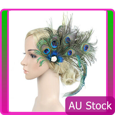 1920s Headband Peacock Feather 20s 20's Great Gatsby Flapper Gangster Headpiece