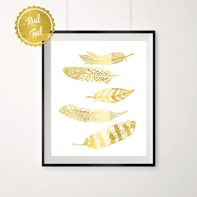 Floating feathers // Gold feathers // feather print // gold feather poster //