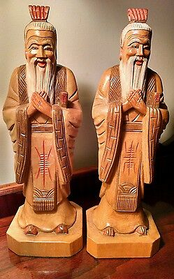 Confucus Book Ends Hand Carved Wooden Sculpture Buddha Wise Men Shaolin Quan Yin