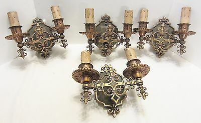 Set 4 Antique Double Metal Wall Sconces Arts Crafts Candle Type 1920's
