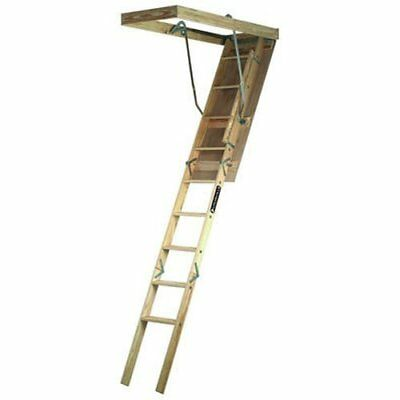 "Ladder Fits Wood Attic Stairs 7-8' 9"" Ceiling Storage Loft Garage Door Pull Down"