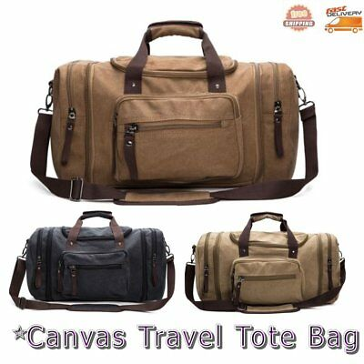 Mens Canvas Large Tote Holdall Luggage Overnight Travel Weekend Bag Gym Duffel