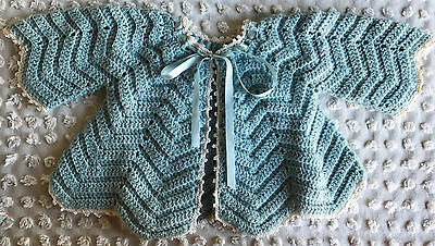 Vintage Blue Crochet Baby Doll Sweater Ribbon Sweet!