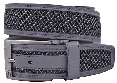 PGA Tour Leather Belt with Mesh Inlay - Gray - 6072500-031