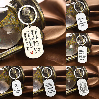 Inspiration Dad Keychain Keyring Stainless Steel Heart Hero Father Love Gift Hot