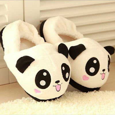 Women Cute Panda Eyes Slippers Lovely Cartoon Indoor Home Soft Shoes Funny Hot