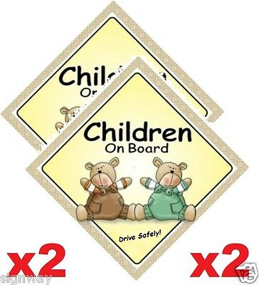 CHILDREN ON BOARD x2 Signs  Two Bears - MADE IN OZ - Peel Off Strips - FREE POST