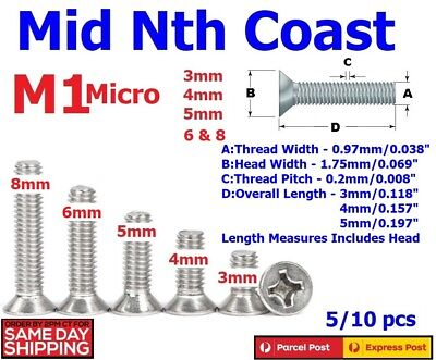 M1 x 3/4/5mm Micro Countersunk Phillips Head 304 Stainless Steel Screws 5/10pcs
