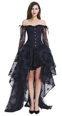 Steampunk Gothic Lace High Low Halloween Wedding Party Long Skirt & Corset Set