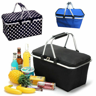 Picnic Basket Cooler Bag Hamper Insulated Folding Tote Travel 35L Assorted