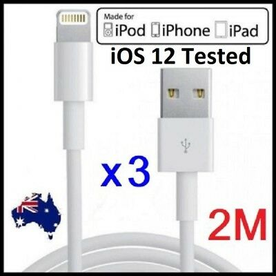 3 x 2M USB Lightning Data Charger Cable Apple iPhone X XS 8 7+ 6S iPad 4 Air Pro