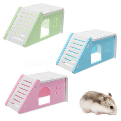 1pc Pet Mouse Hamster Flat House Cage Bed With Ladder Playground Exercise Toys