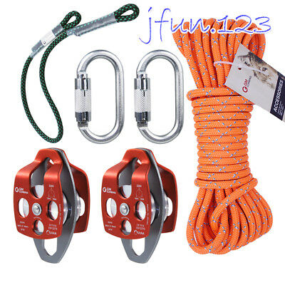 "5:1 Block and Tackle Kit 30"" Prusiks & Carabiner for Hauling Tensioning Rescue"